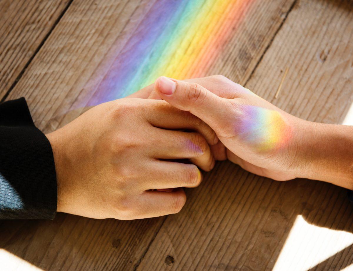 LGBT+ rainbow hands