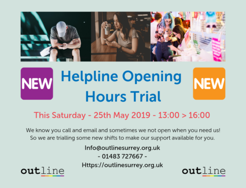 Helpline Open Saturday 25th May 2019