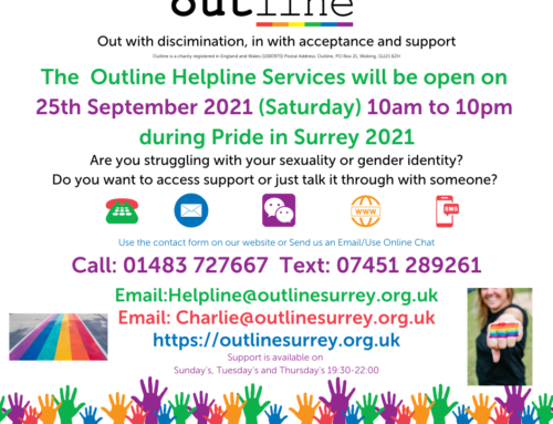 Helpline Opens on Pride in Surrey Event Day 25th Sept 10am to 10pm